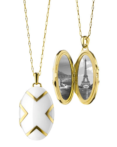 18k White Ceramic Oval X Locket, 30