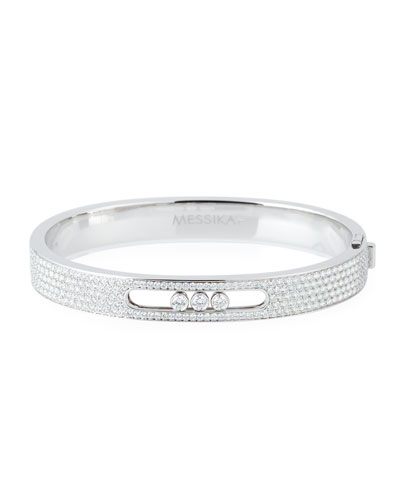 18k White Gold Small Pave Diamond Bangle