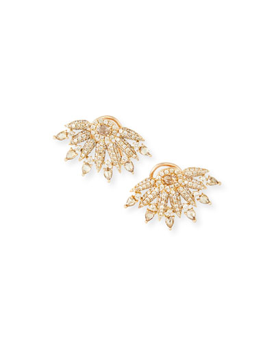 18k Rose Gold Diamond Fan Earrings