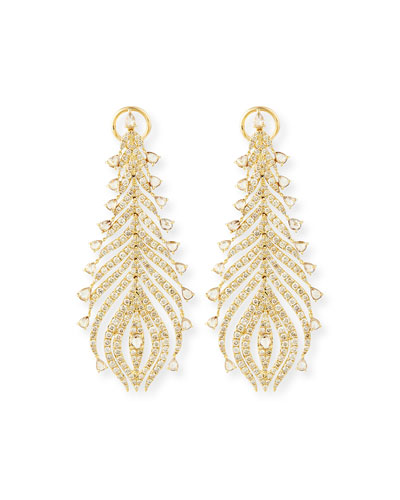 18k Yellow Gold Diamond Feather Earrings