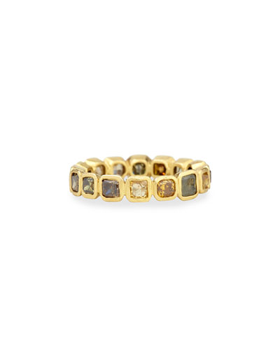 18k Fancy-Cut Square Diamond Band Ring