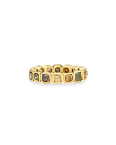 18k Fancy-Cut Square Diamond Band Ring