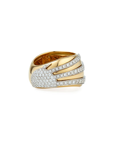 18k Gold Sun Ray Ring with Diamonds, Size 6.5