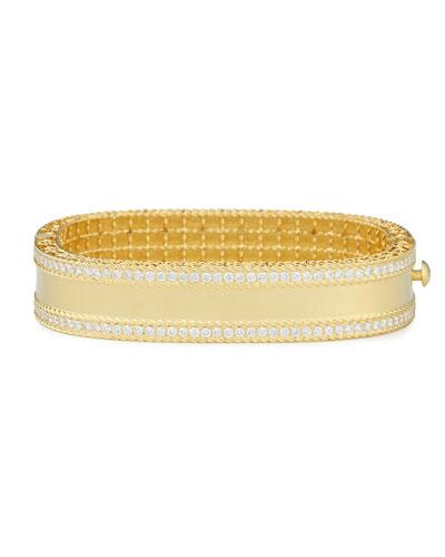 18k Gold Princess Bangle with Pave Diamonds