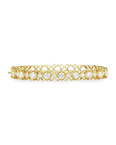 Yellow Gold Diamond Oval Bangle Bracelet