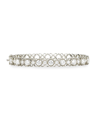 White Gold Diamond Oval Bangle Bracelet