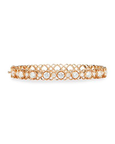 Rose Gold Diamond Oval Bangle Bracelet