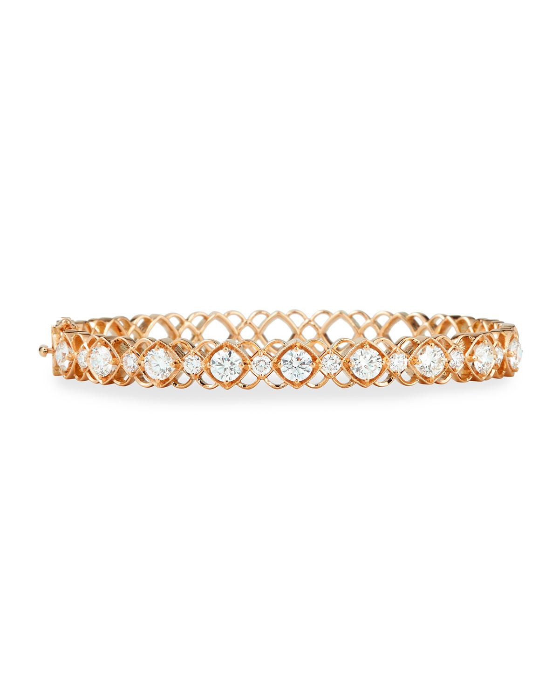 Rose Gold Diamond Oval Bangle Bracelet