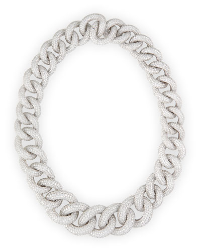 18k White Gold Diamond Chain Link Necklace