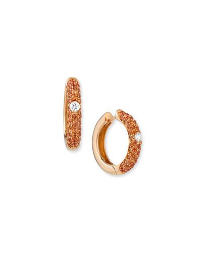 18k Rose Gold Orange Sapphire & Diamond Hoop Earrings