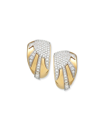 18k Gold Diamond Sun Ray Earrings