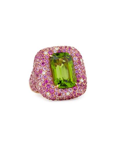 Pink Sapphire and Diamond Peridot Ring