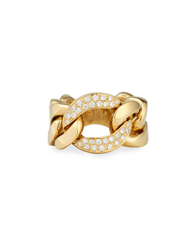 18k Gold Curb Chain Link Diamond Ring, Size 6.5