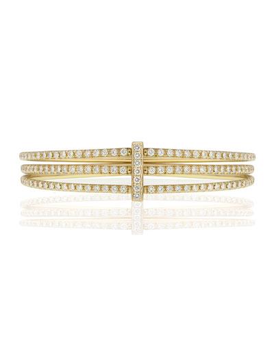 CARELLE MODERNE 18K GOLD THREE-ROW DIAMOND BANGLE