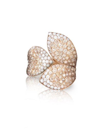 Giardini Segreti 18k Rose Gold Diamond Leaf Ring, 2.35 cts.