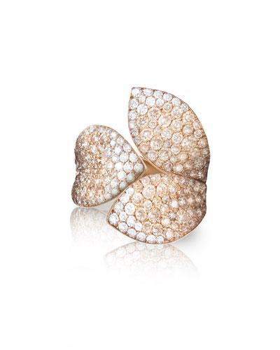 PASQUALE BRUNI Giardini Segreti 18K Rose Gold Diamond Leaf Ring, 2.35 Cts, Size 7 in White/Rose