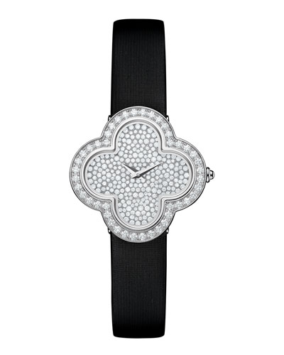 Alhambra Pave White Gold Diamond Watch, Small