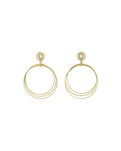 18k Gold Hawaii Circle Drop Earrings