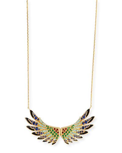 18k Gold Multi-Stone Wing Pendant Necklace