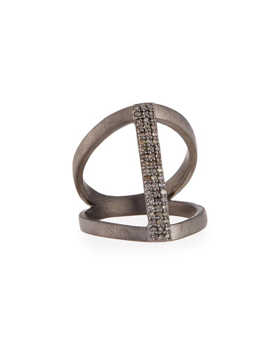 Vertical Diamond Bar Ring, Size 6.5