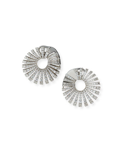 Ventaglio 18k White Gold Round Diamond Earrings