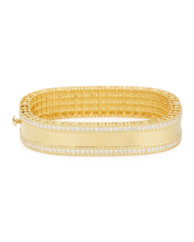 ROBERTO COIN PRINCESS 18K GOLD BANGLE WITH DIAMONDS