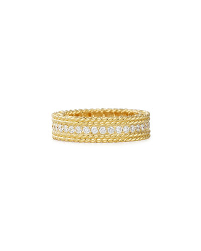 Princess 18k Gold Petite Ring with Diamonds, Size 6.5