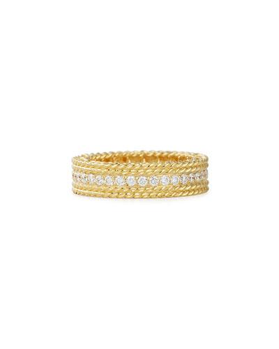 Princess 18k Gold Petite Ring with Diamonds, Size 6.5