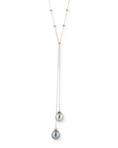 18k Pearl and Diamond Y-Drop Necklace