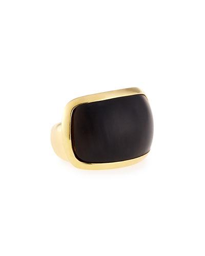 Signature Sculpt Black Horn Ring, Size 7