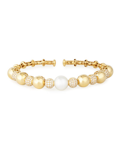 18k Yellow Gold South Sea Pearl & Diamond Bangle