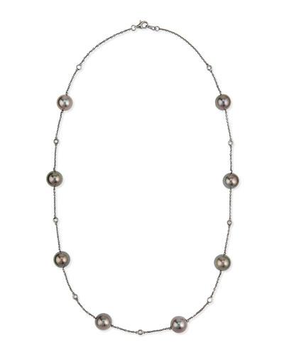 18k Black Gold Tahitian Pearl & Diamond Necklace
