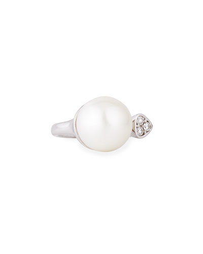 South Sea Pearl & Diamond Open Center Ring