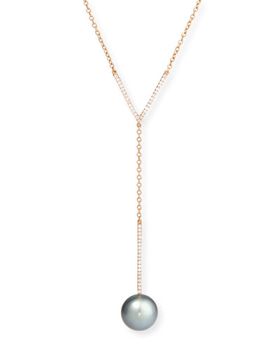 Tahitian Pearl & Diamond Y-Drop Pendant Necklace