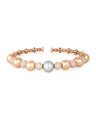18k Rose Gold Tahitian Pearl & Diamond Bangle