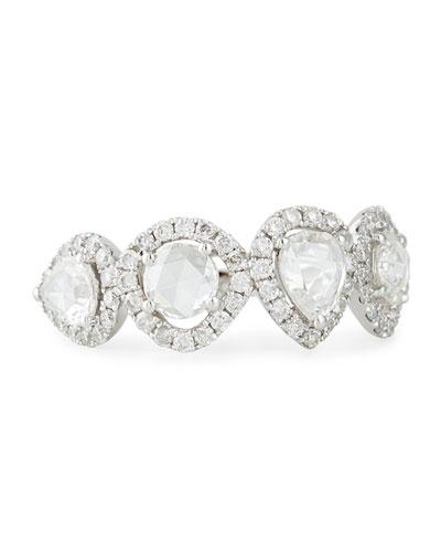 18k White Gold Pear & Round Diamond Ring, Size 7