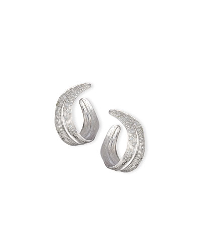 Palm Pavé Diamond Crescent Earrings