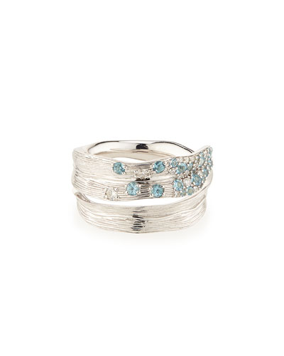 Pavé Sky Blue Topaz & Diamond Ring, Size 7