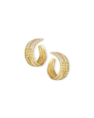 18K Yellow Gold & Pavé Diamond Crescent Palm Earrings