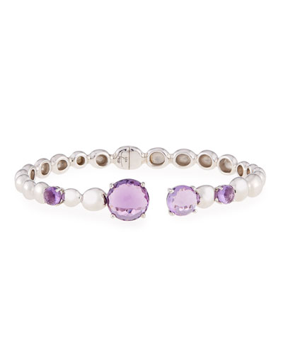Molten Hinge Bangle with Amethyst