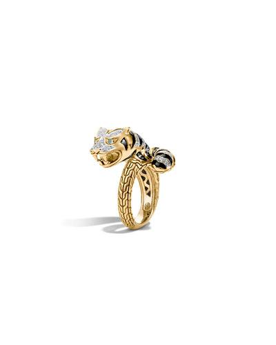 Classic Chain 18k Macan Diamond Ring, Size 7