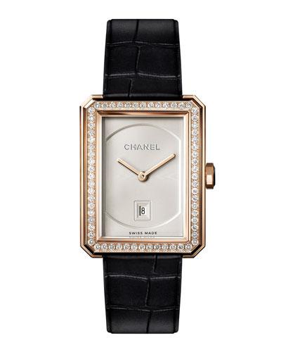 BOY-FRIEND 18K Beige Gold Watch with Diamonds, Medium Size