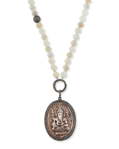 Moonstone Ganesh Pendant Necklace with Diamonds