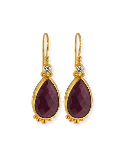 Quick Look Gurhan Elements 24k Gold Constantine Ruby Teardrop Earrings