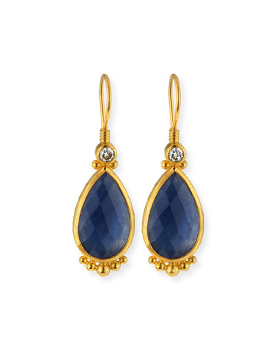 Elements 24k Constantine Sapphire Teardrop Earrings