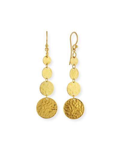 Lush 24k Gold Graduated Dangle Earrings