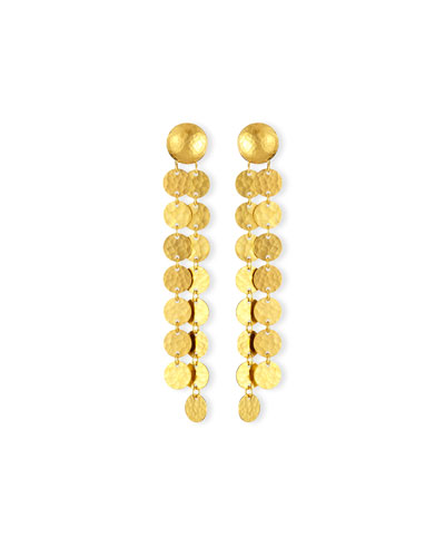 24K Lush Double-Disc Drop Earrings