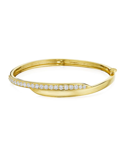 18k Green Gold Diamond-Trimmed Crescent Bangle
