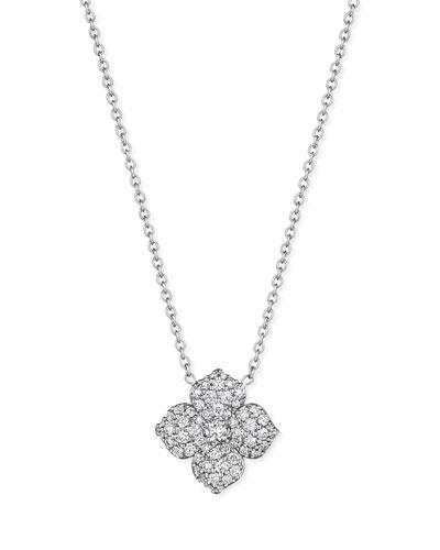 Pavé Diamond Flower Pendant Necklace
