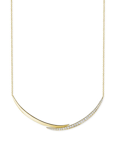 18k Gold Overlapping Diamond Crescent Necklace